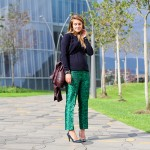 Green printed pants