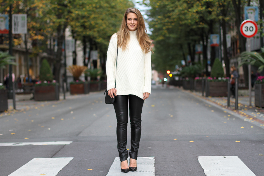 Clochet mango leather leggings mango knit