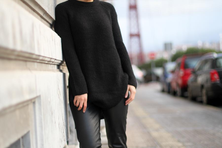 Mango leather trousers black knit leo slipons-1-3
