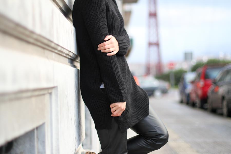 Mango leather trousers black knit leo slipons-1-4