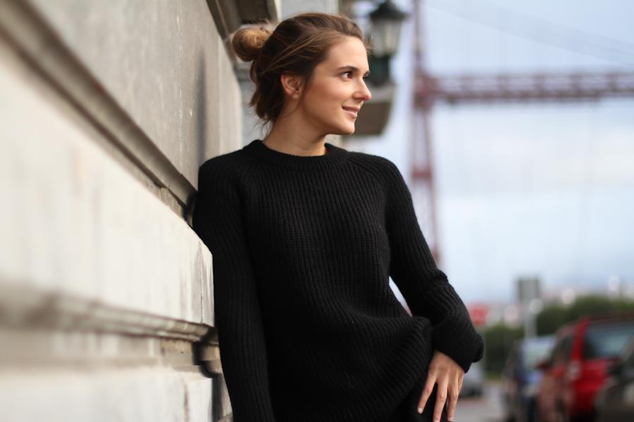 Mango leather trousers black knit leo slipons-1