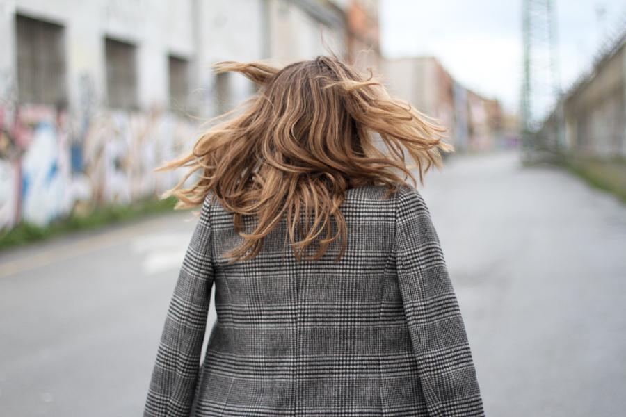 clochet grey checked coat