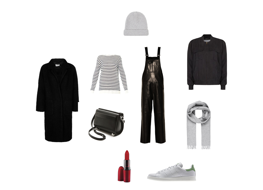 Clochet-ganni_coat-alexander_wang_bag-adidas_stan_smith-leather_dungarees