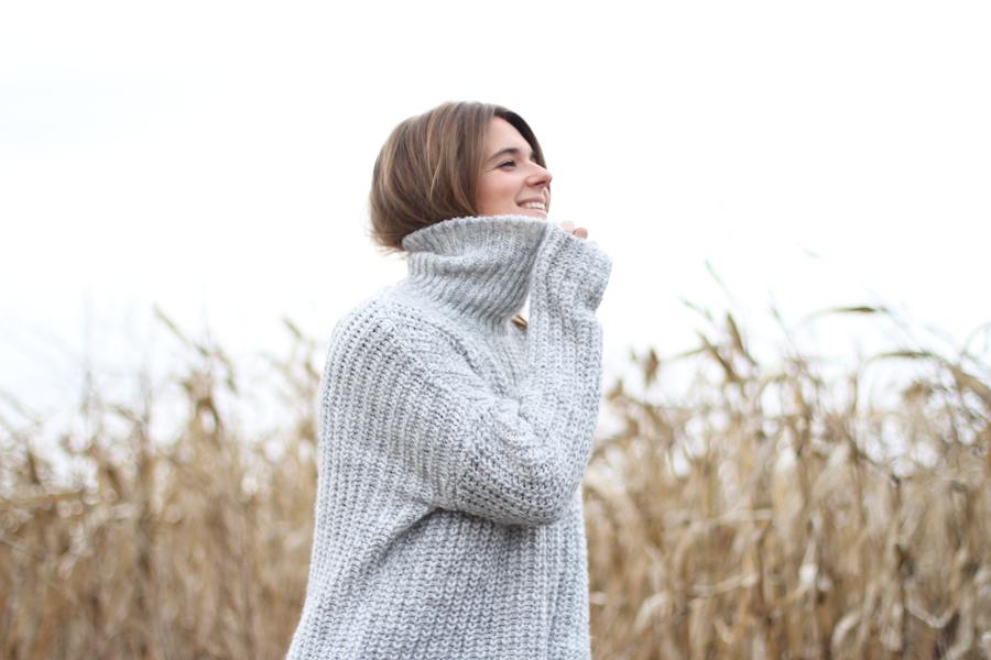 clochet - big oversized cozy turtleneck knit zara