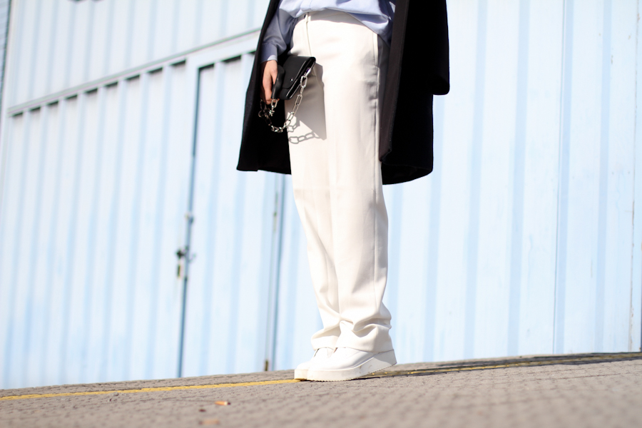 clochet - acne shiloh bag - cos coat - white wide sandro trousers - outfit - street style-5