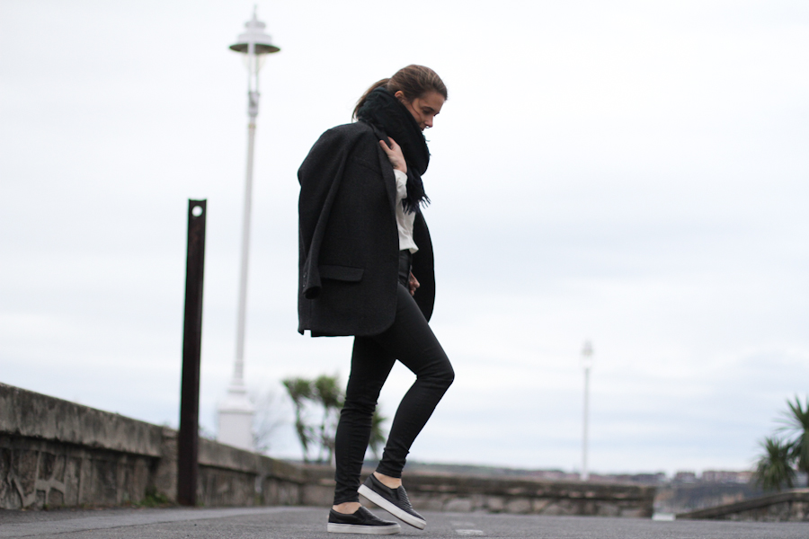 clochet - leather slipons - isabel marant jacket - zara coated jeans - daniel wellington watch-3