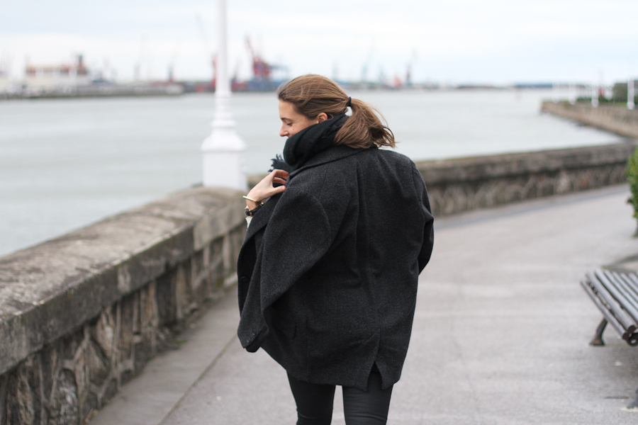 clochet - leather slipons - isabel marant jacket - zara coated jeans - daniel wellington watch