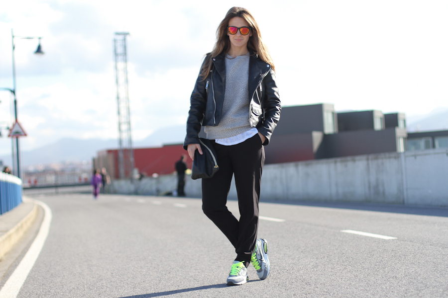 clochet - mango premium leather jacket- nike air max - american apparel clutch - outfit - street style-2