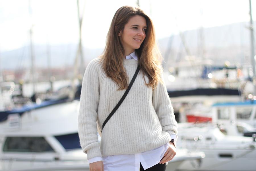 clochet - steve madden leopard slipons - zara beige knit - mango white shirt