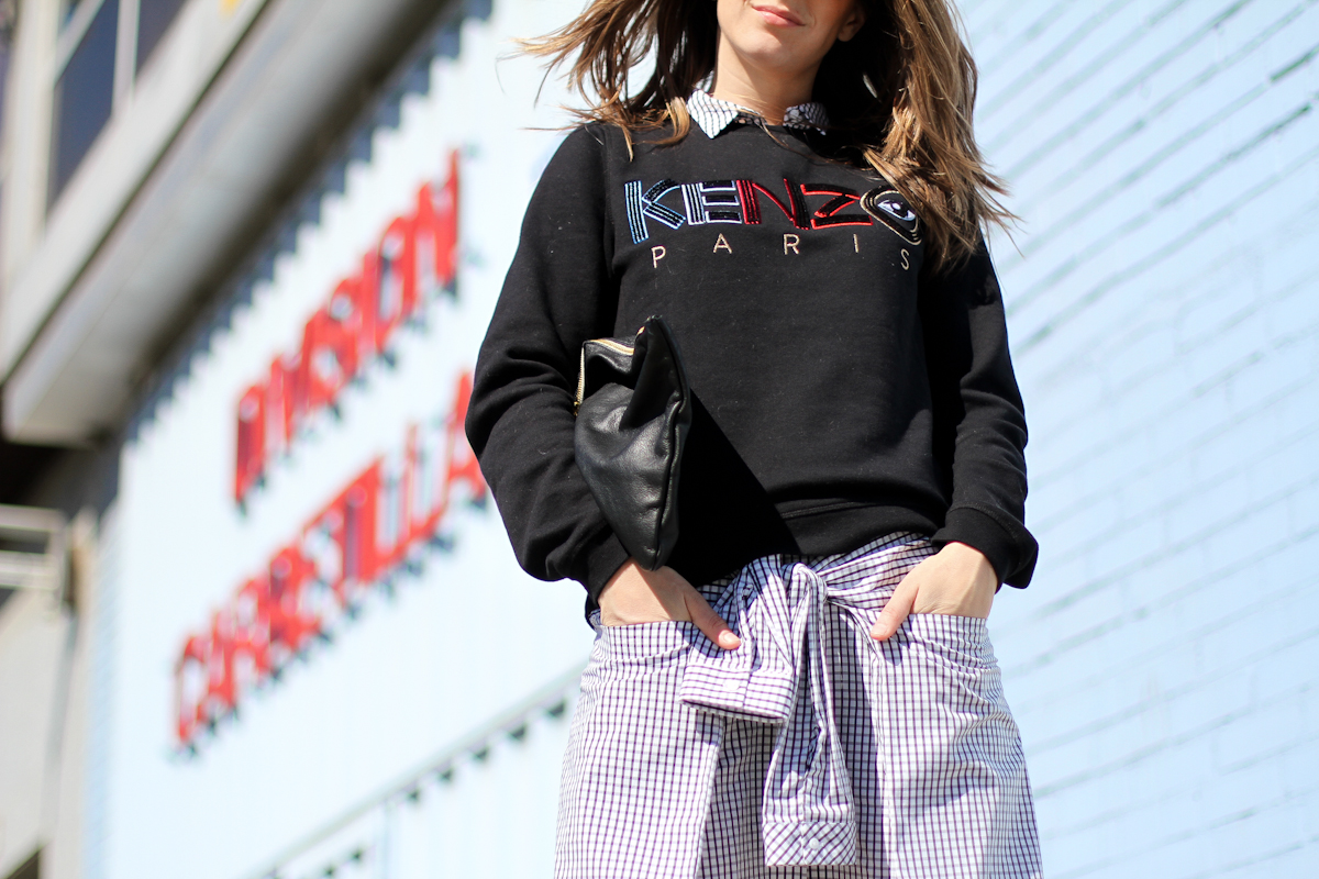 clochet - outfit - streetstyle -  zara checked dress - kenzo sweatshirt - american apparel clutch-7