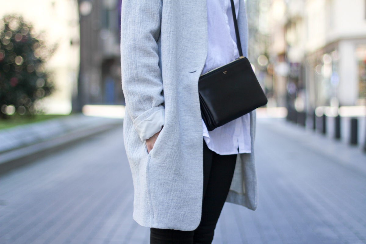 clochet - streetstyle - outfit - mango grey oversized coat  h&m slipons - celine trio bag-3