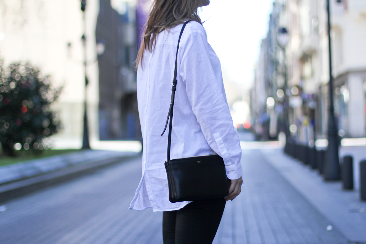 clochet - streetstyle - outfit - mango grey oversized coat  h&m slipons - celine trio bag-4