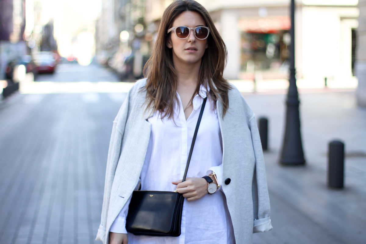 clochet - streetstyle - outfit - mango grey oversized coat  h&m slipons - celine trio bag
