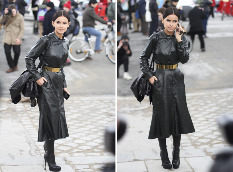 Clochet - paris fashion week - street style - miroslava duma - all leather