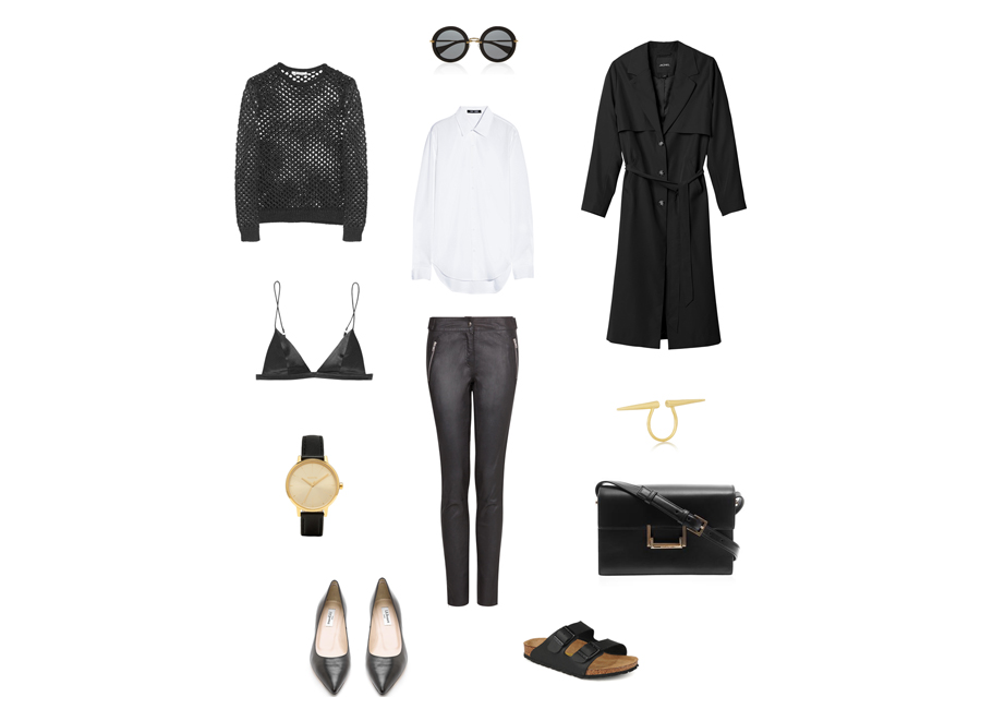 Sain lauren lulu bag - mango leather trousers - nixon watch - t by alexander wang bralet