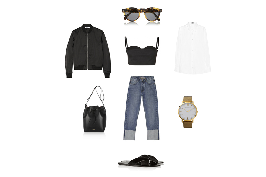 ancient greek sandals - mansur gavriel bucket bag - ance rue li bustier - t by alexander wang bomber