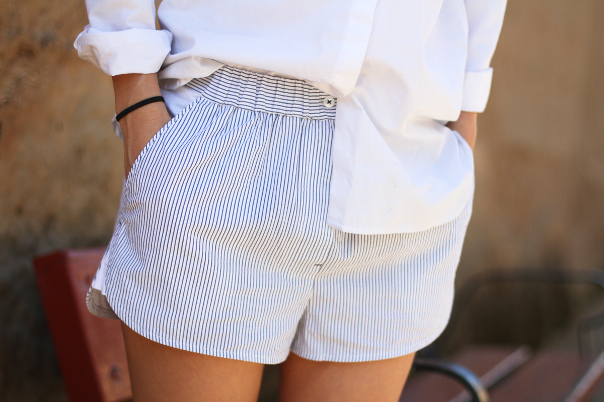 clochet - streetstyle - outfit - h&m trend alexander wang shorts - white shirt-3