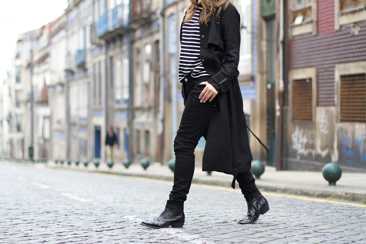 clochet - streetstyle - outfit - oporto - blanco distressed jeans - h&m long trench coat - cowboy boots-4