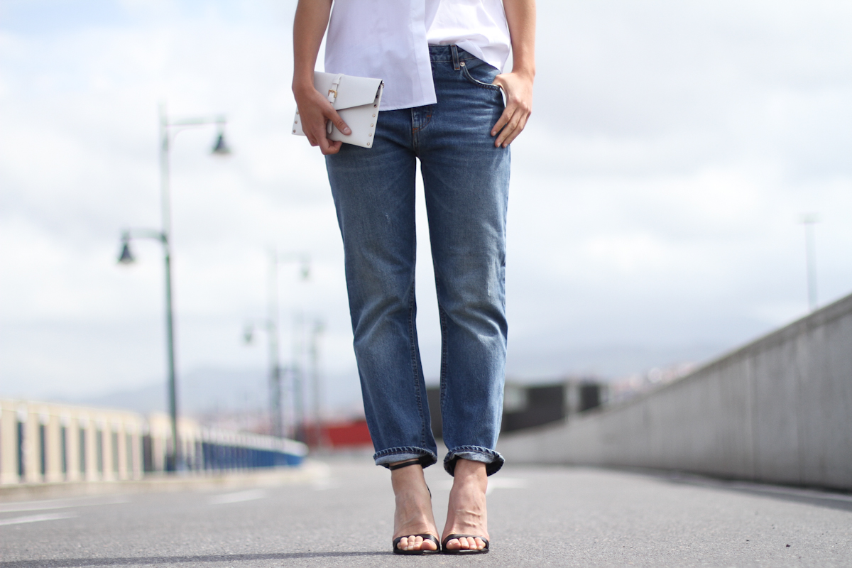 clochet - outfit- streetstyle - acne pop jeans - mango clutch - white structured shirt-2
