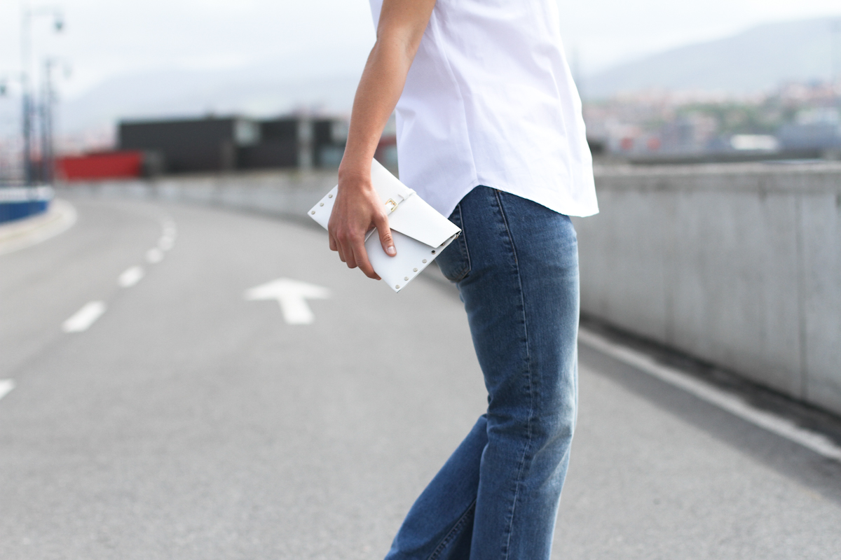 clochet - outfit- streetstyle - acne pop jeans - mango clutch - white structured shirt-8