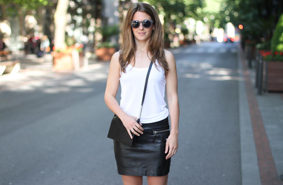 clochet - outfit- streetstyle - mango mini leather skirt - mango leopard slipons - cos bag-4