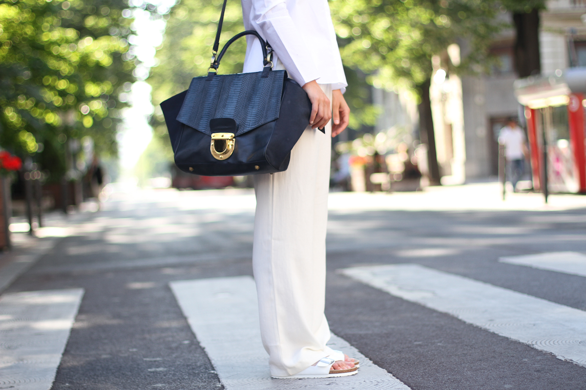 clochet - outfit- streetstyle - mango white wide trousers - cos white shirt - sushi bag - white birkenstocks-10
