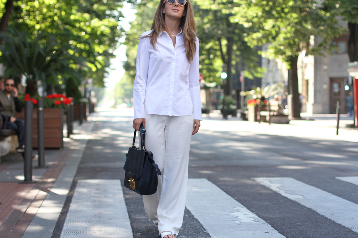 clochet - outfit- streetstyle - mango white wide trousers - cos white shirt - sushi bag - white birkenstocks-3
