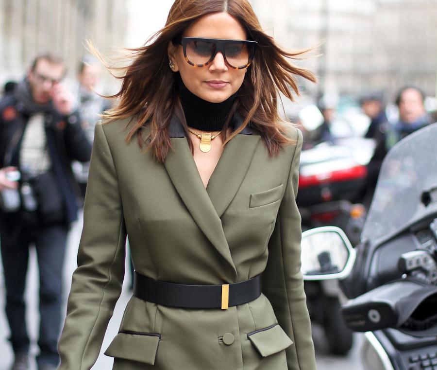 clochet - outfit- streetstyle - paris fashion week - christine centenera - military dress-3