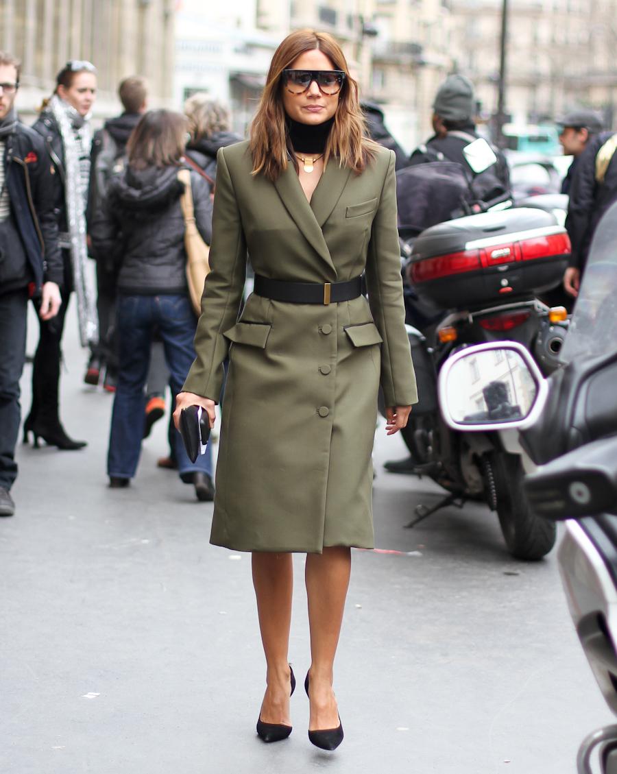 clochet - outfit- streetstyle - paris fashion week - christine centenera - military dress