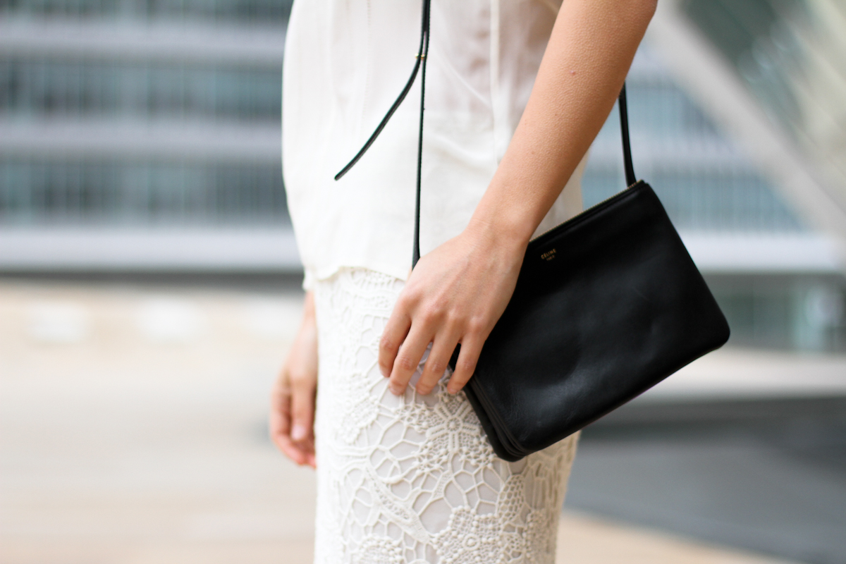 clochet - streetstyle - outfit - h&m trend crochet skirt - silk top - celine trio bag-2