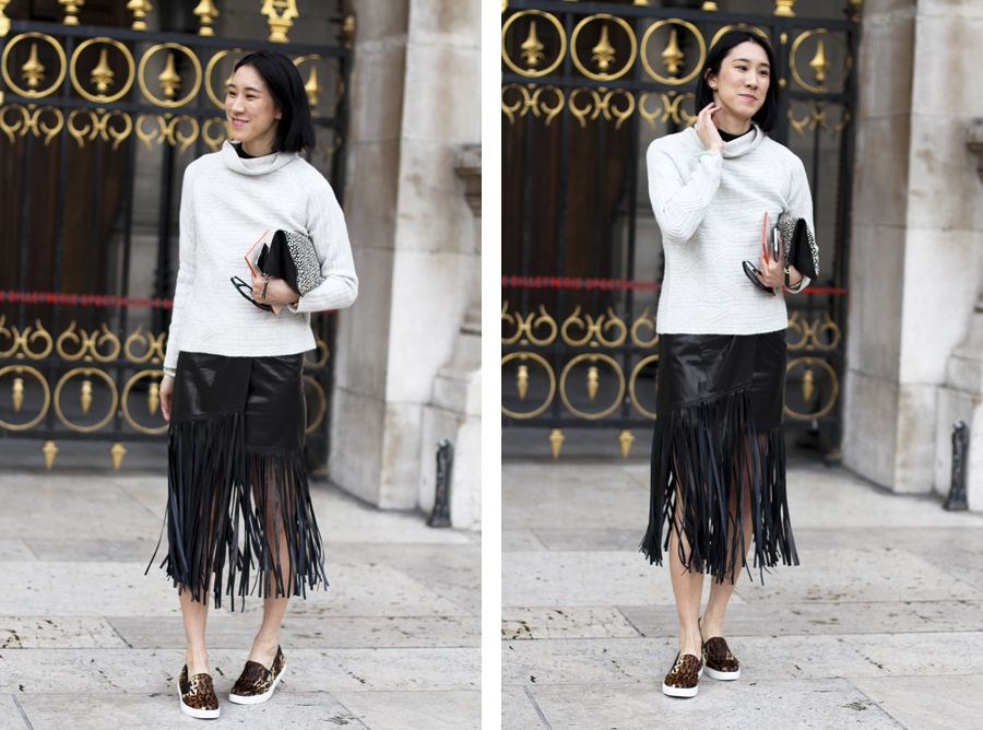 clochet - streetstyle - outfit - paris fashion week - eva chen - fringe leather skirt - leopard slipons-2