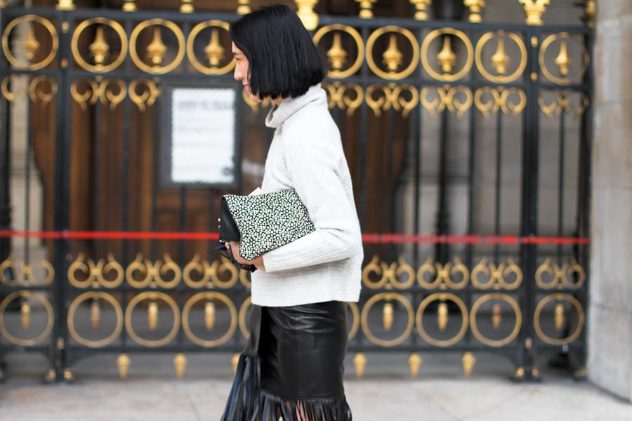 clochet - streetstyle - outfit - paris fashion week - eva chen - fringe leather skirt - leopard slipons-4
