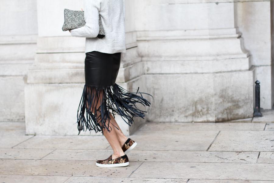 clochet - streetstyle - outfit - paris fashion week - eva chen - fringe leather skirt - leopard slipons-5