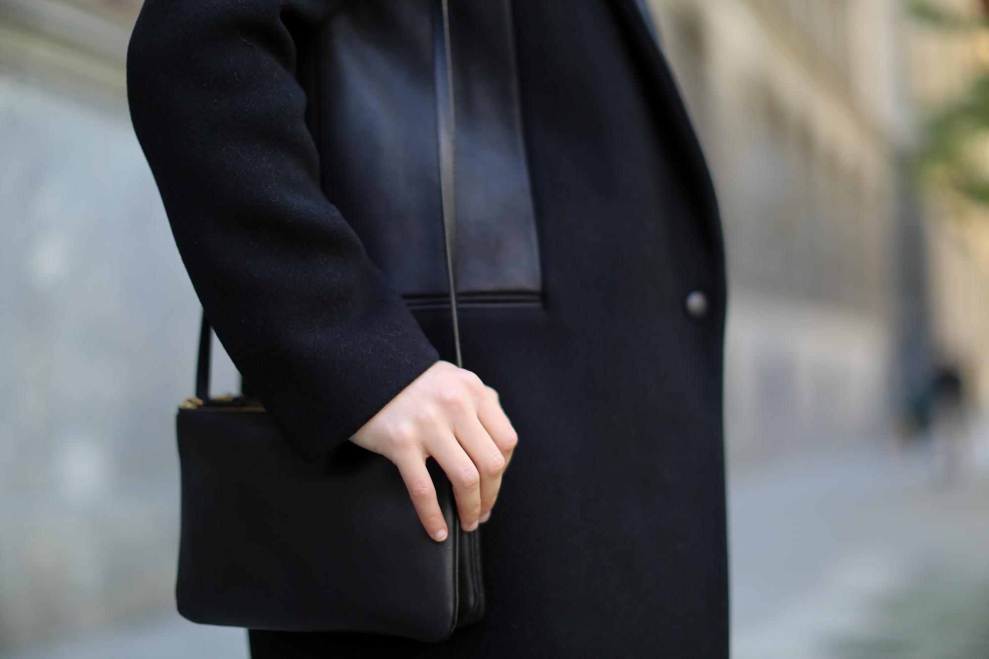 Clochet-streetstyle-sandro-coat-mango-leather-mini-celine-trio-bag ...