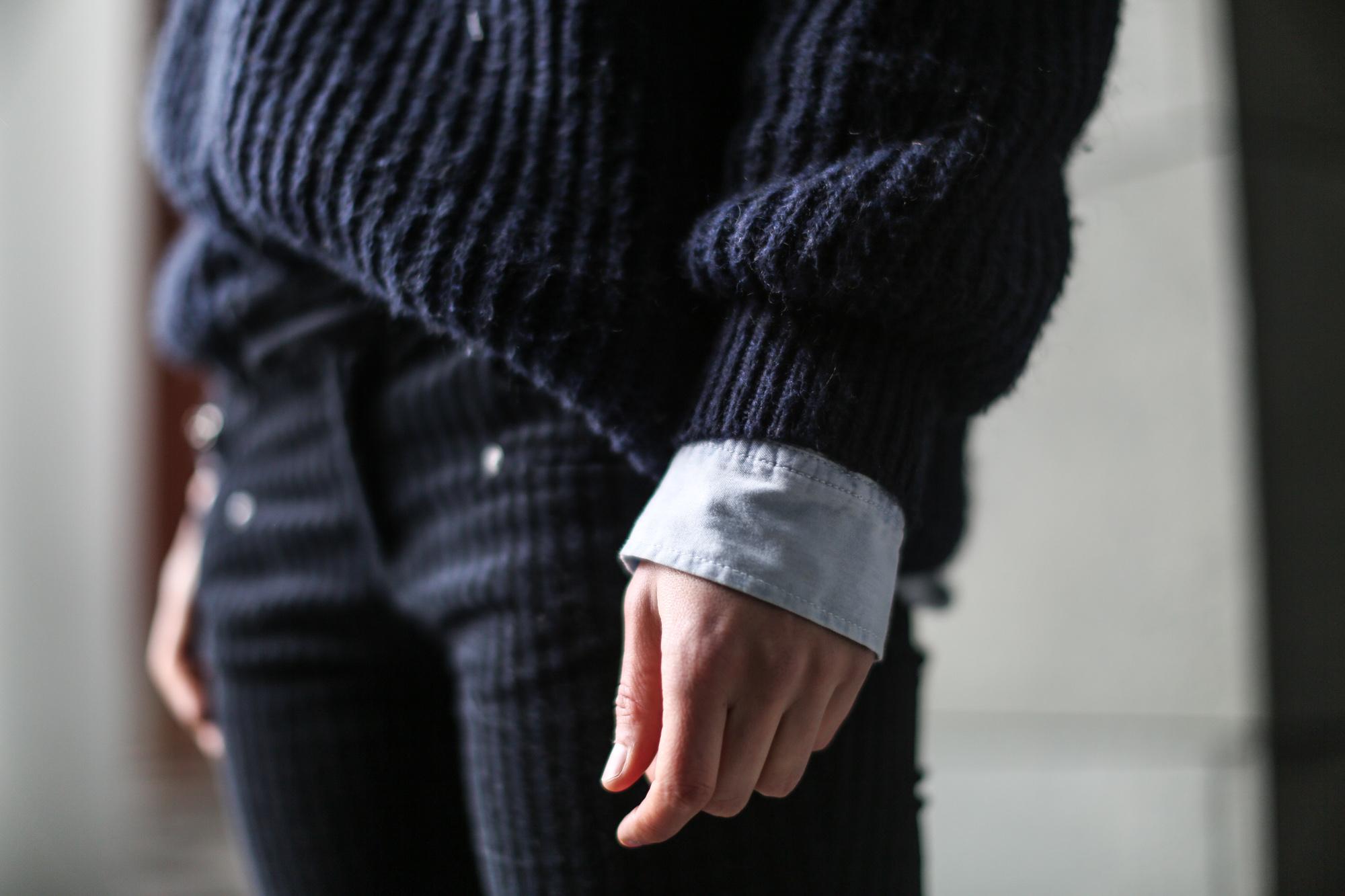 Clochet-streetstyle-navy-chunky-knit-zara-velvet-trousers-5