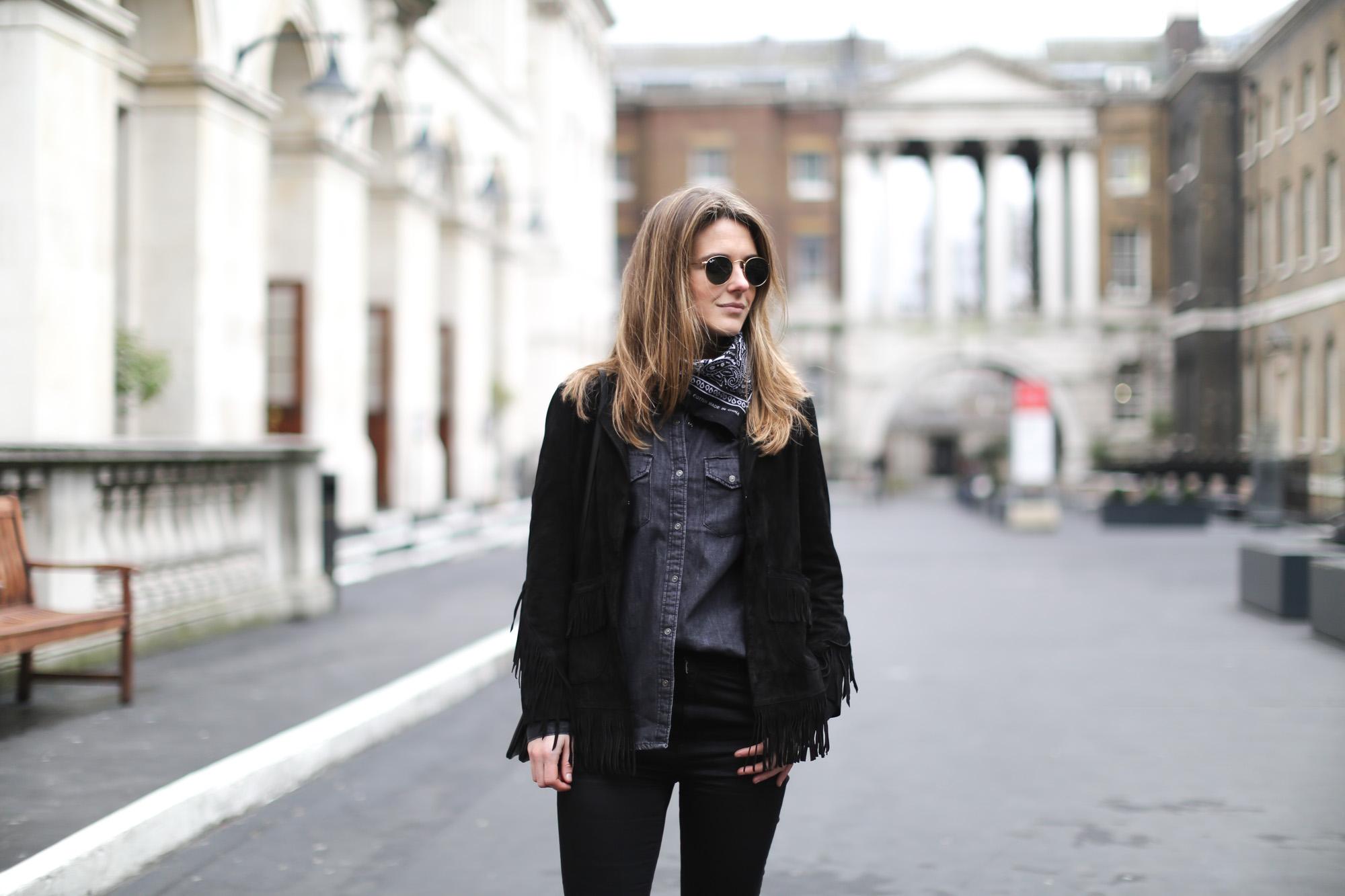 Clochet-streetstyle-lfw-london-fashion-week-maje-fringed-suede-jacket-cowboy-boots-5