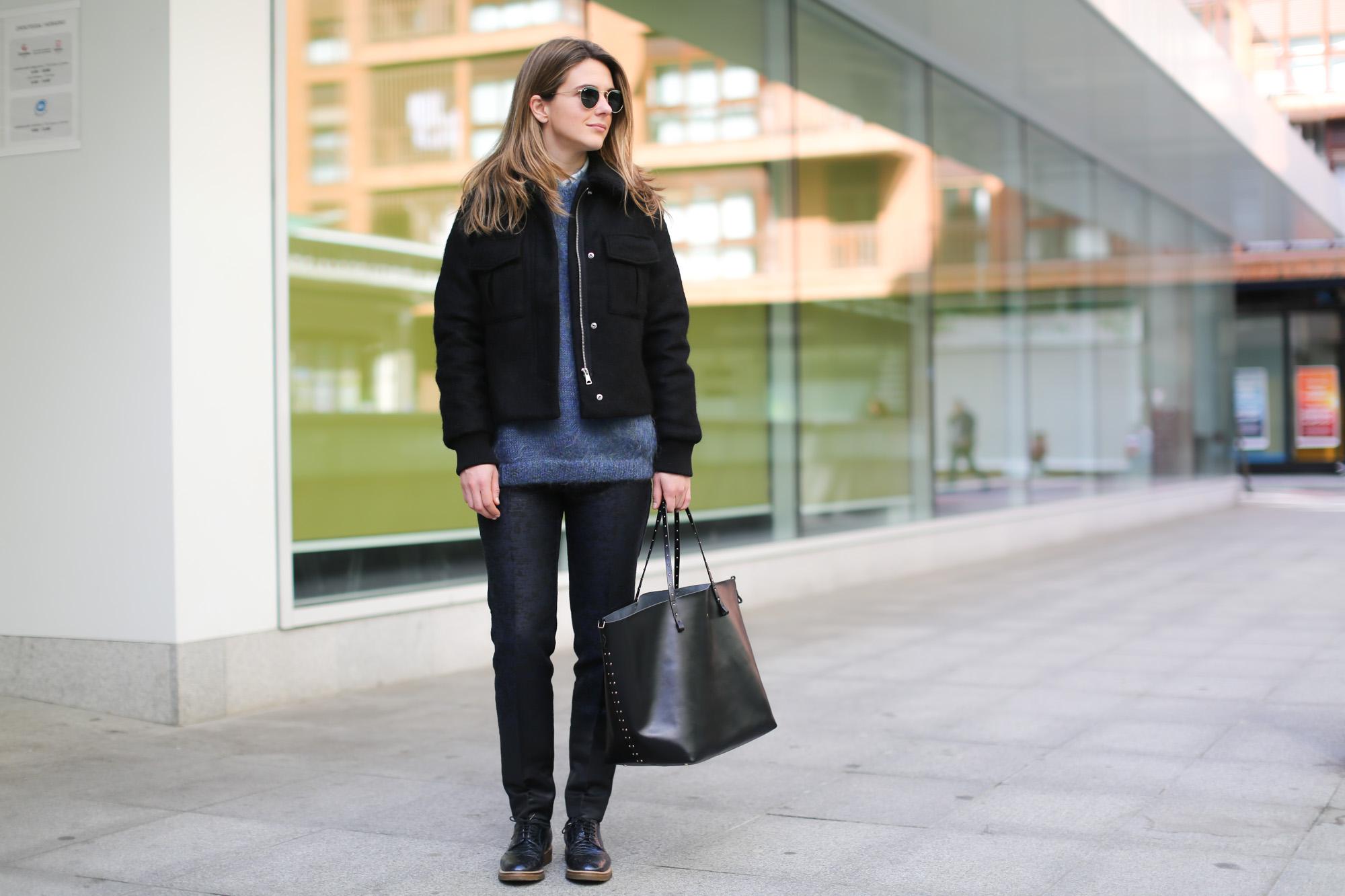 Clochet-streetstyle-topshop-jacket-purificacion-garcia-bag-rayban-round-sunnies