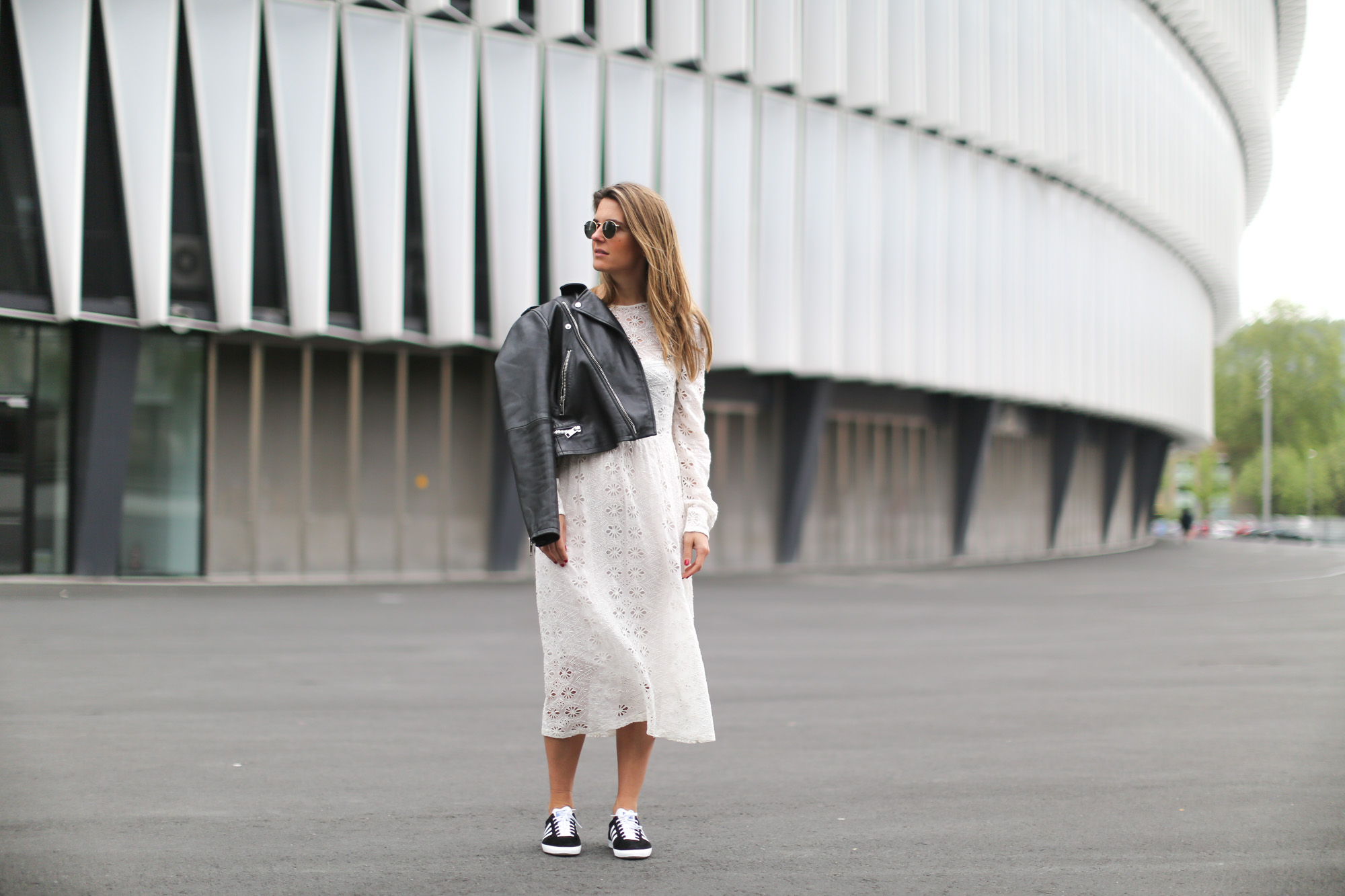 Clochet-streetstyle-mango-premium-leather-biker-jaket-zara-white-embroided-midi-dress