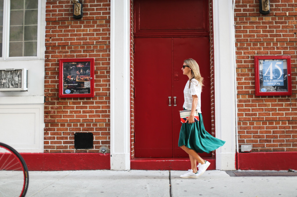 Green midi flowy skirt