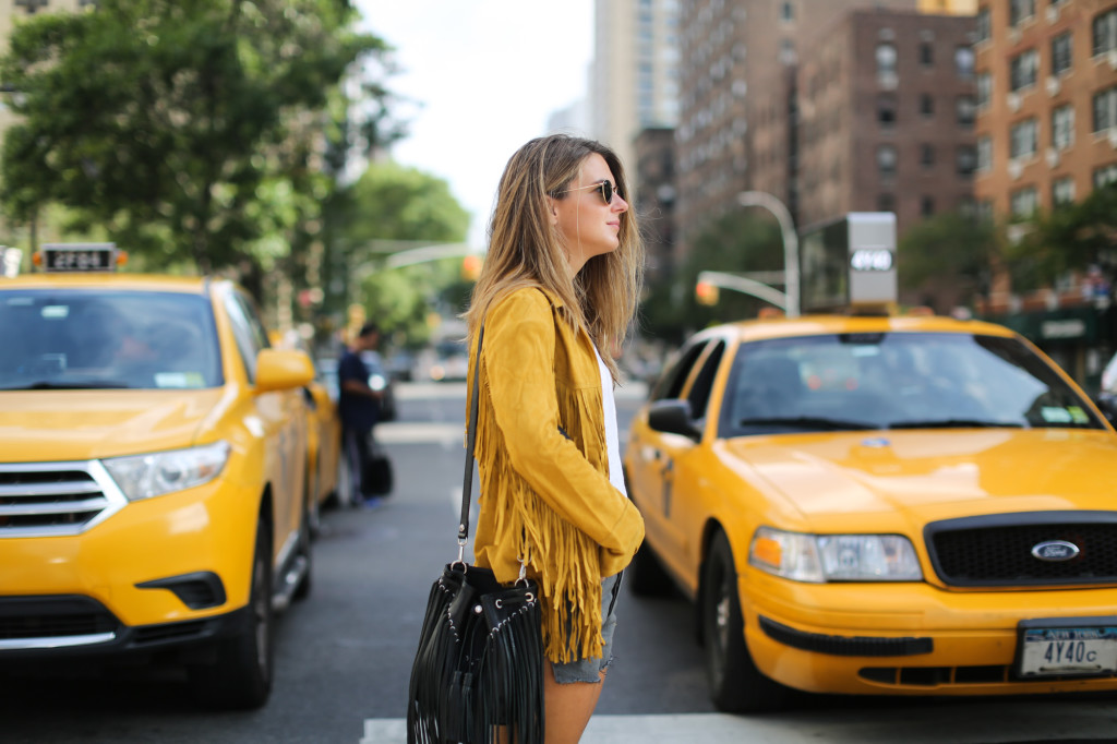 Yellow fringed suede
