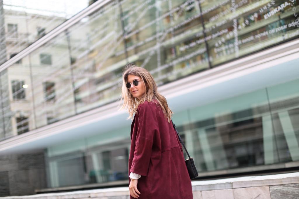 Boxcalf burgundy suede coat