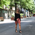 Silk printed skirt