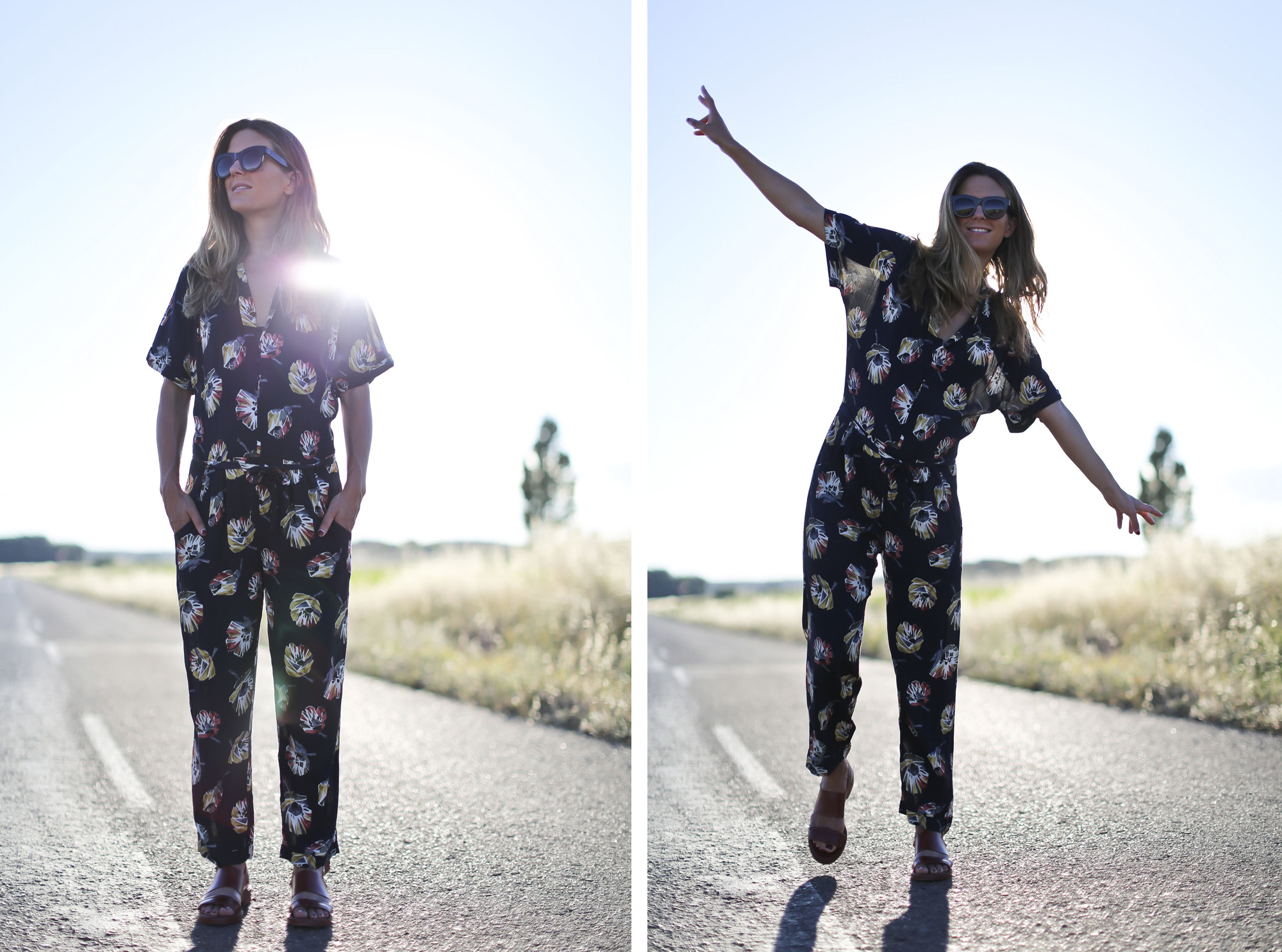 Clochet_streetstyle_zara_flowers_printed_jumpsuit_flat_sandals-9