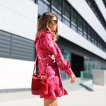 Pink silk mini dress
