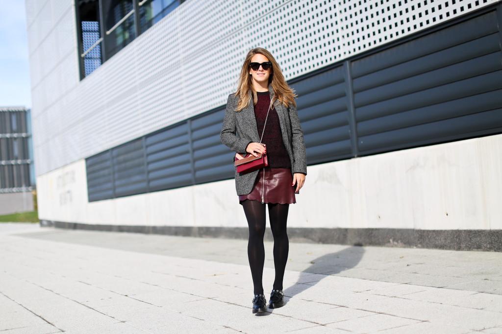 Burgundy leather miniskirt