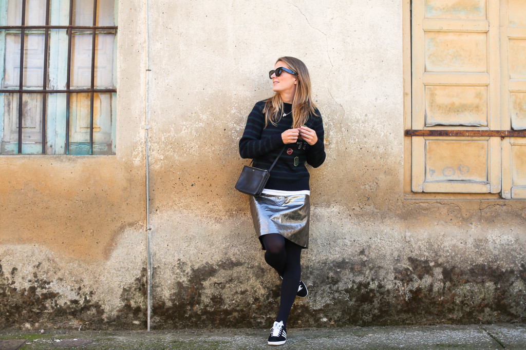 Metallic leather skirt