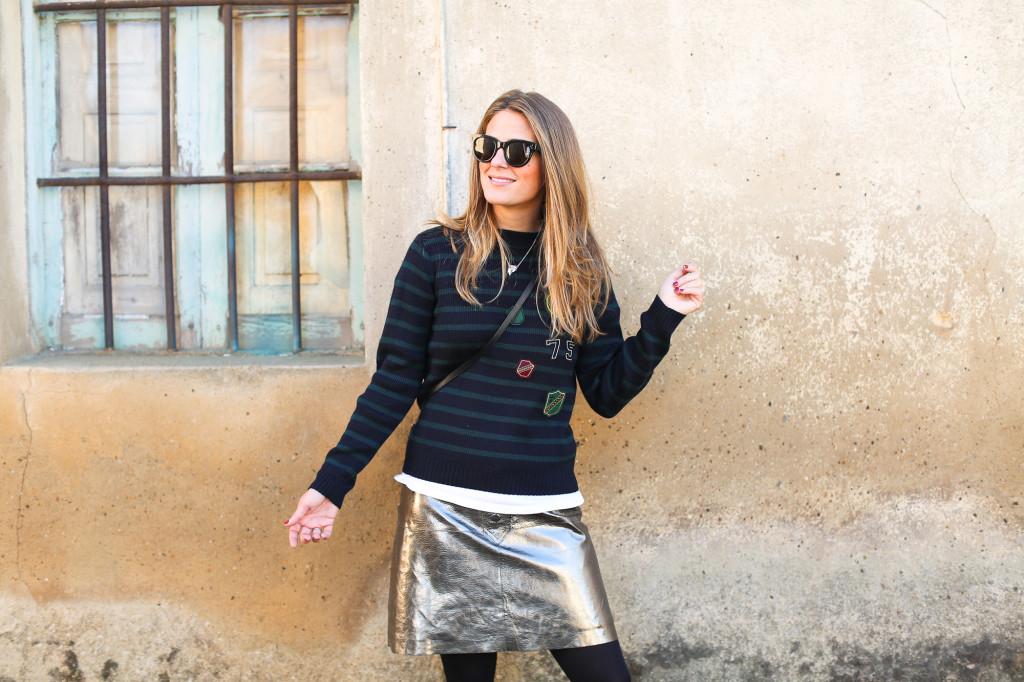 Clochet_streetstyle_fashionblogger_zarametallicleatherskirt_claudiepierlot_stripedknit_adidasgazelle-4