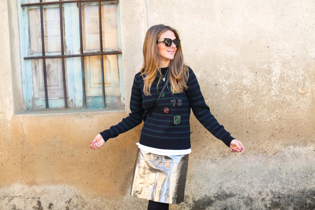 Clochet_streetstyle_fashionblogger_zarametallicleatherskirt_claudiepierlot_stripedknit_adidasgazelle-5