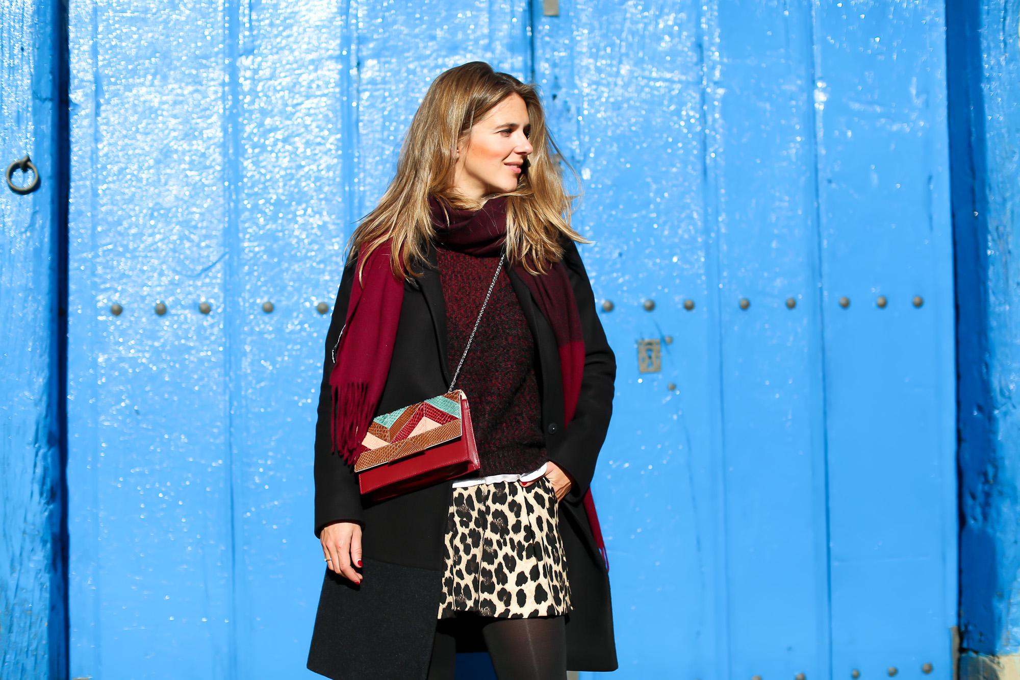 Clochet_streetstyle_fashionblogger_IKKSwoolknit_titamadridspigagranate_sandrobrogues_zaraleopardshorts-5