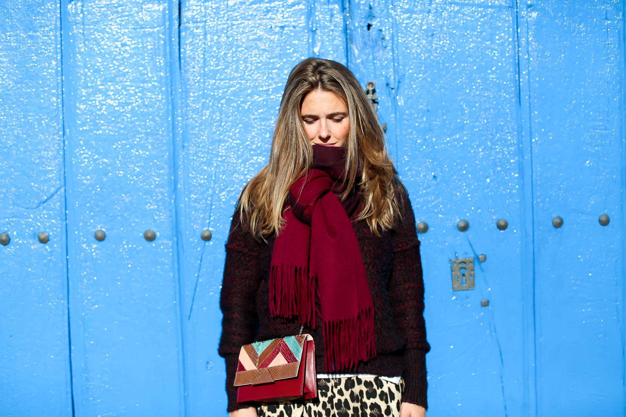 Clochet_streetstyle_fashionblogger_IKKSwoolknit_titamadridspigagranate_sandrobrogues_zaraleopardshorts-8